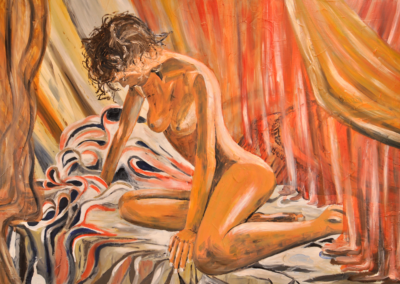 Fabrice-Knecht-Woman-in-front-of-red-Curtain-70x100cm-Oil-on-Canvas