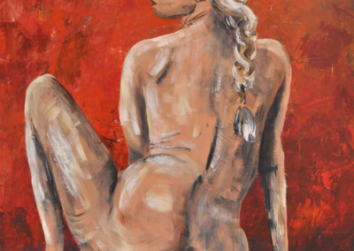 Fabrice-Knecht-Woman-on-red-background-60x80cm-Acrylic-on-Canvas-naked-woman-art